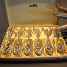 Hermes Vintage Silvered Set of 6 Moka Spoons, Box!