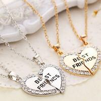 Corazón Plata Dorado Colgantes Collar Bff Amistad Moda