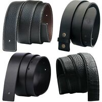 QHA Mens Womens Black Genuine Leather Replacement Belt Strap No Buckle