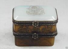 China Handmade Old Bone Jade Carving Buddha & Bird Double Jewelry Box AS