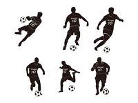 Wandtattoo Fussballer mit Namen Nummer Fussball Kinderzimmer 6Motiv SS-set WFB02