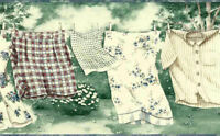 Roll Imperial Laundry Room Wallpaper Border Clothesline Green Blue KB6153B NIP