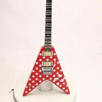 Electric Guitar FR Bridge White Dot Speical V Shape Ebony Fretboard Red Color