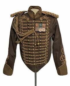 New Men Dark Brown Steampunk 4 pcs Army Officers Antique Braiding Hussar Jacket