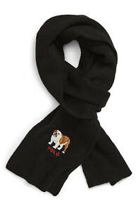 "Polo Ralph Lauren Men's Embroidered Bulldog Knit Scarf -Black- 7.5x72"""