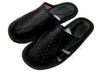 Leather Black No Sweat No Slip Mens Men slippers mules plus size 7 8 9 10 11 12