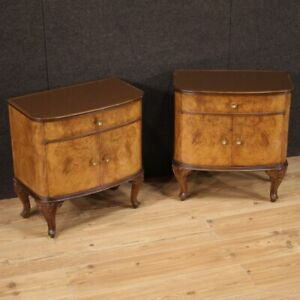 Pair Of Nightstands Wooden Inlaid Level Glass 2 Panels Furniture Vintage 900