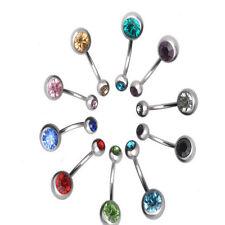 10pcs Body Piercing Jewelry Sexy Crystal Rhinestone Belly Button Bar Navel Ring