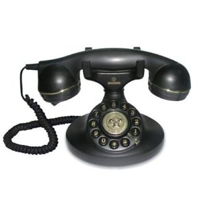 Teléfono Fijo Brondi Vintage Analógico Con Cable Decoracion Diseño Antiguo Negro