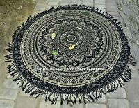 Indian Roundie Round Gold Ombre Mandala Hippie Tapestry Beach Throw Yoga Mat Rug