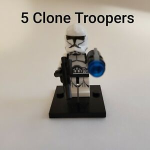 5 Star Wars Clone Trooper Minifigure Lot Army For Lego Compatible USA SELLER