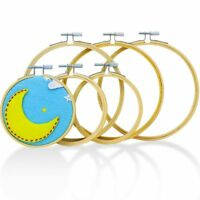 Embroidery Hoops for Cross Stitch (6 Pack) Premium Round Bamboo Hoop Kit Bulk X1