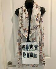 NWT Scarf Vest Multi Way Women's One Size Beige Floral Lightweight Cruise Travel
