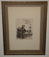 Framed Orginal Etching of President Abraham Lincoln by Bernhardt T. Wall