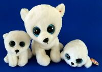 "Ty Beanie Boos Plush Lot of 3 Arctic 6"" &  9"" Buddy w Icy Seal 6"" Glitter Eyes"
