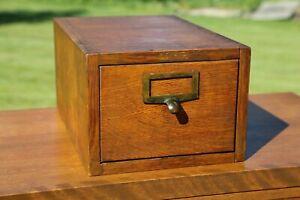 Antique Globe Wernicke 1 Drawer Oak Card Catalog index file box Wood cabinet