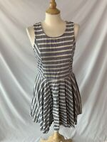Bar III Blue & White Striped Fit & Flare Sleeveless Dress Juniors Size XL