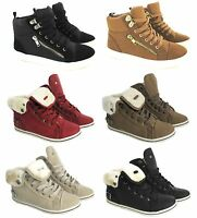 LADIES FLAT FUR HI HIGH TOP WOMEN SPORT ANKLE PLIMSOLE PUMPS TRAINERS SHOE  NEW