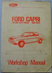 Ford Capri 1300 1600 Mk1 ohv original Workshop Manual 1969-74 CG 422/316787/1171