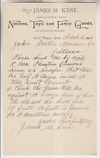 1895 LETTERHEAD - JAMES M KANE - NOTIONS TOYS & FANCY GOODS - FORT WAYNE IND.