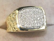 Fine Cluster Nugget Style Ring-Size 9.75 10k Yellow Gold Diamond-.21 tcw Band