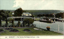 Marlow. View showing Foot Bridge & Lock # 592 by LL/Levy. Coloured. Canal Barge.