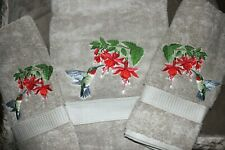 RUBY THROATED HUMMINGBIRD Beige 3 Piece BATH & HAND TOWELS EMBROIDERED