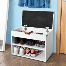 SoBuy® Hallway White Shoe Storage Bench Shoe Cabinet with Padded Seat,FSR25-W,UK