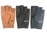 MEN'S HALF FINGER CHAUFFEUR  REAL LAMBSKIN  NAPPA LEATHER DRIVING GLOVES