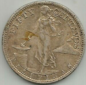 1944-S USA-Philippines 50 Centavos Silver Coin #  15