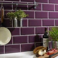 Sample of gloss plum metro bevelled edge ceramic wall tiles 10 x 20cm