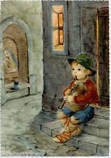 Stupendo Bambino Zampognaro Cornamusa Children BagPipe Music PC Circa 1950