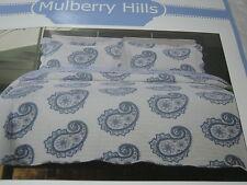 Mulberry Hills Giselle Blue White Paisley Full/Queen Quilt & Shams Set 3 PC NIP