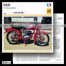 #018.07 FOLLIS 175 (GNOME & RHÔNE) 1956 Fiche Moto Motorcycle Card