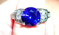 Tanzanite Ring, Inidigo/Purple, Size 7.75/w white sapphire accents, set in 14KWG