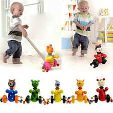 Cute Wooden Kids Developmental Toy Animal Pattern Baby Push Along Walker Toy UK2