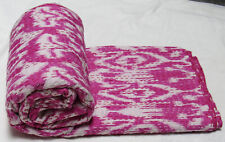 New Indian Cotton Screen Print Ikat Coverlet Kantha Quilt Twin Bedspread Bedding