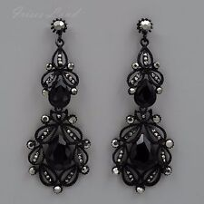 Alloy Black Jet hematite Crystal Rhinestone Drop Dangle Earrings 8148 New