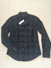 NWT J.CREW Club Collar Perfect Shirt Black Watch Plaid Tartan Sz 2 #F9294 New