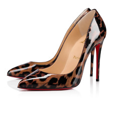 Christian Louboutin Pigalle Follies 100 Black Gold Leopard Patent Heel Pump 37