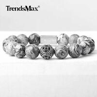 Matte Grey Jasper Natural Stone Beaded Bracelet Stretch 925 Sterling Silver Bead