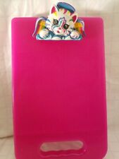 Lisa Frank Angel Cat Bright Pink Glitter Clipboard Storage Container  Vintage