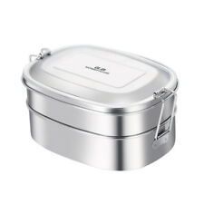 2 Layer Tier Stainless Steel Lunch Box Silver 16.5*12*8cm - 1000ML Eco Friendly