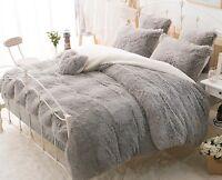 Luxury Soft & Thick Fur Long Wool Quilt Cover 4 Pieces Set 220 cm x 240 cm