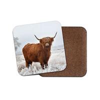 Highland Cow Coaster - Cattle Snow Winter Scotland Animals Wild Cool Gift #15508