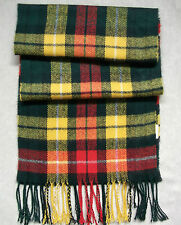 VINTAGE 1970'S 1980'S LONG TARTAN CHECKED SCARF MOD DARK GREEN YELLOW RED