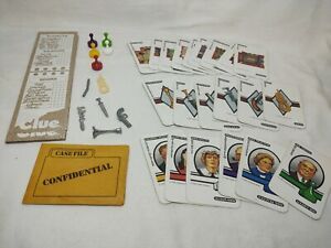 Vtg Clue Board Game 1986 Replacement Lot Pieces Cards Weapons Parker Brothers