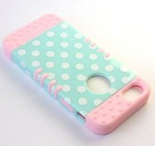 For iPhone SE 5S HARD & SOFT RUBBER HYBRID CASE COVER MINT BLUE PINK POLKA DOTS
