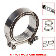 "1pcs 2.5"" V-Band Flange & Clamp Kit for Turbo Exhaust Downpipes Stainless Steel"