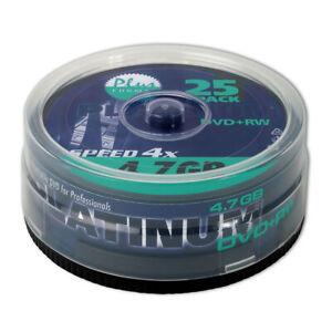 25er Spindel Platinum DVD+RW 4,7 GB Rohlinge 120 Min Aufnahmezeit max. 4x Speed